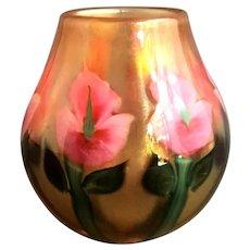 "Spectacular DANIEL LOTTON Sunset ""Pink Irises"" Vase"