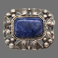 Antique Arts and Crafts  Nouveau Sterling Silver Brooch Pin Lapis Lazuli Sodalite Foliate Leaves
