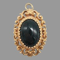 Antique Victorian Bloodstone Cabochon 14k Yellow Gold Pendant Pin Brooch Unusual