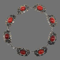Vintage Arts and Crafts Carnelian Cabochon Choker Necklace Sterling Silver