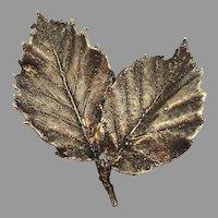 Vintage Flora Danica Leaf Brooch Sterling Silver 925 Eggert Denmark