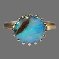 Vintage Iridescent Blue Boulder Opal 14k Gold Ring