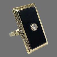 Antique Late Edwardian Early Art Deco 14k Yellow Gold Onyx Diamond Rectangular Ring 1910-1920