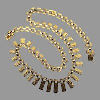 Vintage Mid-Century Modern Modernist 14K Yellow Gold 585 Necklace Textured Panels Retro Brutalist