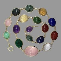 Vintage Scarab Beetle Multi Gemstone Necklace 14k Karat Yellow Gold Egyptian Revival Retro