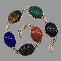 Vintage Scarab Beetle Bracelet 10k Yellow Gold Multi Gemstone Forstner Egyptian Revival