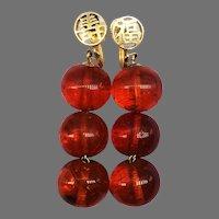 Vintage Amber 14k Gold Earrings