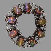Vintage Dragons Dragon's Breath Opal Cabochon Mexican Silver Bracelet Hallmark AM Handmade Mexico