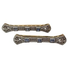 Pair Art Deco 14k Gold and Sapphire Lingerie Pins Brooches