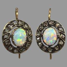 Antique Edwardian Opal Rose Cut Diamond Earrings Belle Epoque 585 14k Yellow Gold