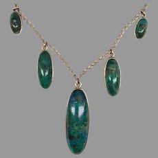 Antique Edwardian Rose Gold Turquoise Matrix Pyrite Cabochon Festoon Drop Necklace Box George Bell