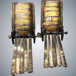 Modernist Sterling Silver 24k Gold Earrings Handmade Signed