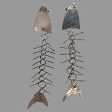 Vintage Modernist Sterling Silver Fish Skeleton Dangle Earrings Bones Modern Retro Kinetic Mexico