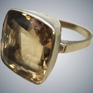 Vintage Citrine Modernist Cocktail Ring White Gold 10k