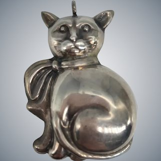 Vintage Large Puffy 3D Sterling Silver Kitty Cat Pendant