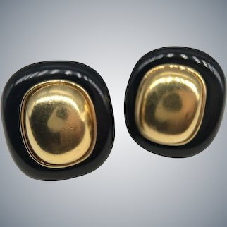 Vintage Kai-Yin Lo Kylo Designer Gilt Silver 925 Onyx Earrings