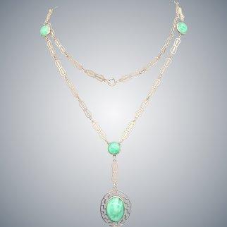 Art Deco Long Sterling Silver Peking Glass Necklace