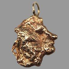 Vintage 14k 14 Karat Rose Gold Nugget Necklace Pendant Unisex