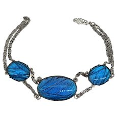 Vintage Morpho Butterfly Wing Bracelet Iridescent Blue Art Deco Sterling Silver Insect