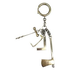 Vintage Handmade Miniature Timber Framing Wood Working Tools Pendant Watch Fob 800 Silver Union