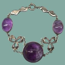 Antique Amethyst Cabochon Sterling Silver Arts and Crafts Bracelet Signed MB Germany Bows Floral