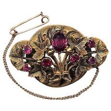 Antique Georgian / Victorian Garnet 15k Rose Gold Brooch Pin Chasing Foliate Leaves 9k Safety Chain