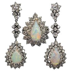 Vintage Natural Opal Diamond Demi Parure Ring Earrings Set 14k White Gold 1950s