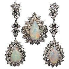 Glamorous Vintage Natural Opal Diamond Demi Parure Ring Earrings Set 14k White Gold 1950s