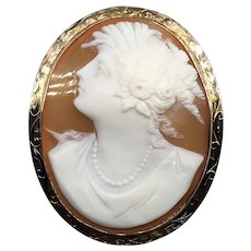 Antique Art Deco Large Shell Cameo Pendant Brooch Pin 10k Yellow Gold Greek Revival