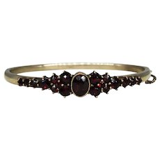 Antique Victorian Bohemian Garnet Bangle Bracelet 800 Silver Safety Chain Handmade Hand Wrought