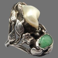 Antique Arts and Crafts Nouveau Floral Foliate Blister Pearl Jadeite Jade Sterling Silver Ring