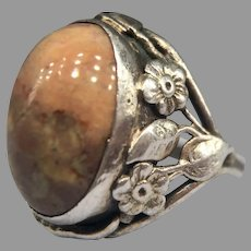 Antique Edwardian Arts and Crafts Nouveau Agate Foliate Leaves Flowers Ring Sterling Silver
