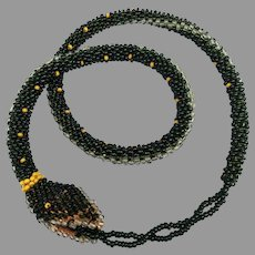 Antique Wiener Werkstätte Beaded Snake Necklace Patterned Micro Glass Beads Arts & Crafts Teeth
