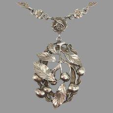 Antique Edwardian 800 Silver Art Nouveau Movement Floral Fruit Snake Rose Drop Pendant Necklace