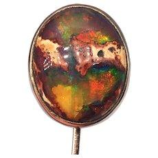 Antique Large Natural Boulder Opal Cabochon Stick Pin Rose Gold