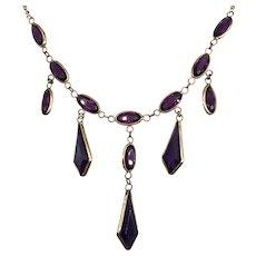 Antique Edwardian Purple Amethyst Paste Glass Rose Gold Filled Festoon Drop Necklace