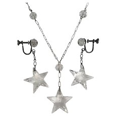 Antique Edwardian Art Deco Quartz Crystal Star Demi Parure Necklace Drop Earrings Set Sterling Silver