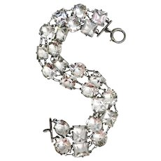 Vintage Art Deco Etched Sterling Silver Double Row Glass Bracelet Pattern