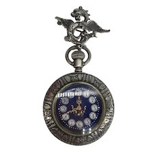Antique Victorian Pocket Watch with Box & Dragon Whiteside & Blank Watch Hook Pin