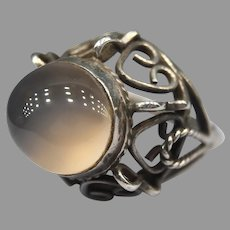 Vintage Moonstone Sterling Silver Handmade Ring Signed TAXCO Mexican Cocktail Dome
