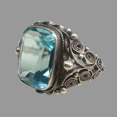 Antique Arts and Crafts 800 Silver Filigree Blue Paste Unisex Ring