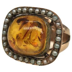 Antique Amber Cabochon Cultured Seed Pearl Ring