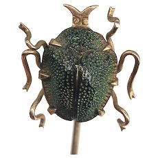 Antique Egyptian Revival Genuine Scarab Beetle Bug Insect Stickpin Stick Pin Tie 10k Gold