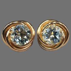 Vintage 10K Yellow Gold Swirls Aquamarine Earrings Studs