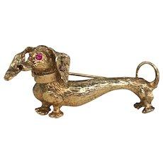 Vintage Dachshund Wiener Dog Hound Danecraft Brooch Pin Sterling Gold Vermeil & Ruby Eyes