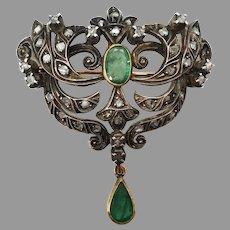 Antique Emerald Rose Cut Diamond 18k Gold Silver Pendant Pin Brooch Belle Epoque Victorian Portuguese