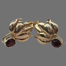Vintage Garnet 14k Gold Leaves Leaf Foliate Earrings