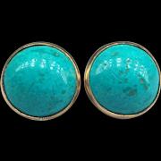 Persian Turquoise Cabochon Pierced Stud Earrings 14k Karat Yellow to Rose Gold