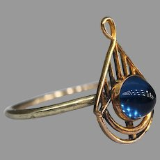 Sugarloaf Blue Sapphire Paste Stick Pin Conversion Ring 10k and 9k Gold