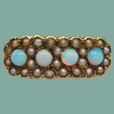 Antique Victorian Opal Cabochon Seed Pearl 12k Gold Daisy Ring Cluster 1800's